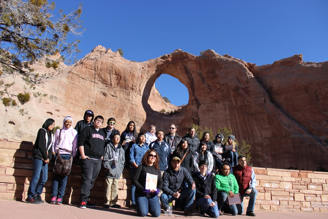 Group picture at Window Rock, AZ, headquarters of the Navajo Nation Government.