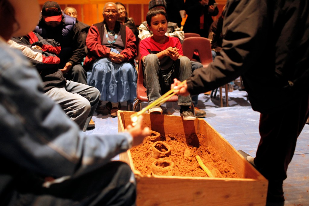 Some of us participated in The Shoe Game, a traditional Navajo game that combines storytelling, singing, and gambling.  It's only played during the winter.  For more information:http://seethesouthwest.com/3312/the-navajo-shoe-game/